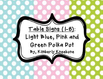 Table - Groups Desks Signs (1-8): Light Blue, Pink, and Gr