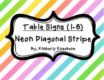 Table - Groups Desks Signs (1-8): Neon Diagonal Stripes