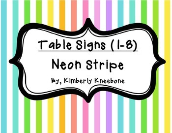 Table - Groups Desks Signs (1-8): Neon Stripes