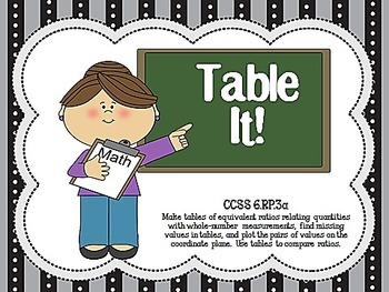 Table It!  CCSS 6.RP.3a