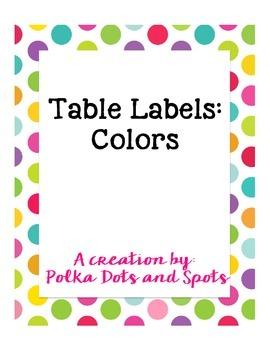 Table Labels: Colors