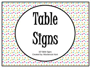 Table Number Signs - Bright Colored Polka Dot