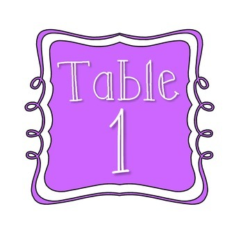 Table Number Signs - Lilac/Purple