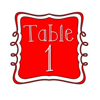 Table Number Signs - Multi Colored