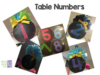 Table Numbers 1-8 (Big and Small)
