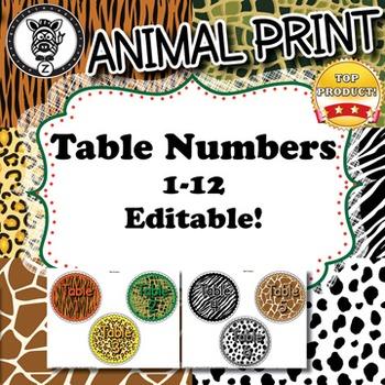 Table Numbers  - Animal Print - ZisforZebra - Editable!