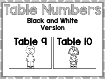 Table Numbers - Blak and White Version