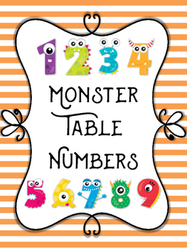 Table Numbers - Monster Themed