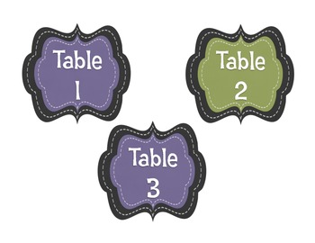 Table Numbers to match Frog Calendar Set