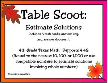 Table Scoot:Estimate Solutions