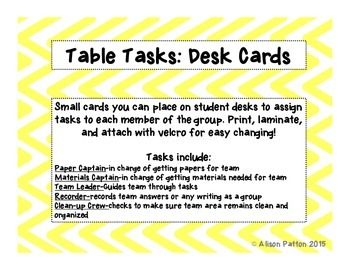 Table Task Cards-Beginning of the Year Organization/ Class