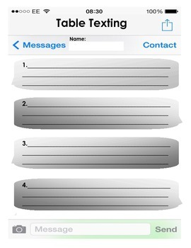 Table Texting: Group Discussion Page