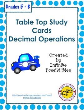 Decimal Operations Study Cards
