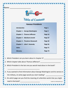 Table of Contents.  5 different table of contents workshee