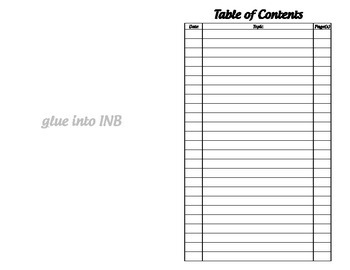 Table of Contents - Interactive Notebook