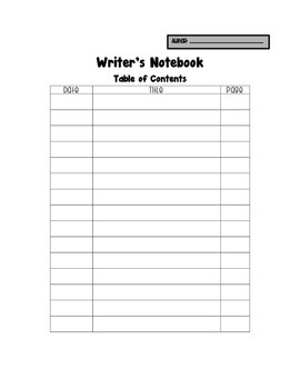 Table of Contents for Interactive Writer's Notebook