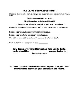 Tableau (Arts Integration) Student Self Assessment