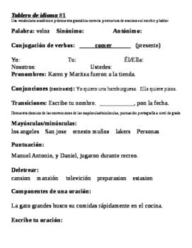 Tablero de idioma (Language board in Spanish)