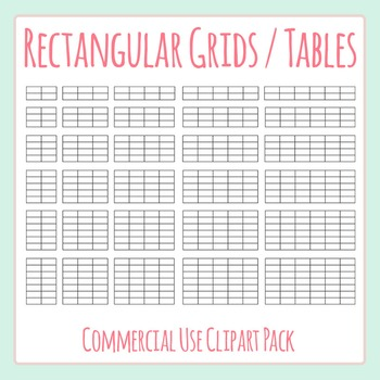 Tables Templates / Rectangular Grids Blank Clip Art Pack f
