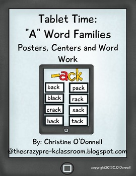 """Tablet Time: 18 """"A"""" word families, word work, common core"""