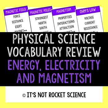 Physical Science Vocabulary Review Game - Energy, Electric
