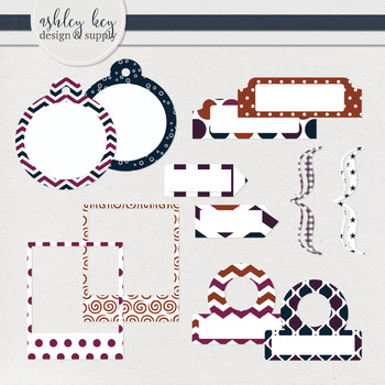Tabs and Tags Clipart Package- Sunset Collection
