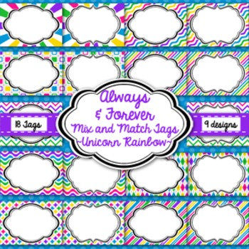 Tags and Labels!  Unicorn Rainbow Pack