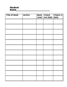 Take Home Book Check Out Sheet