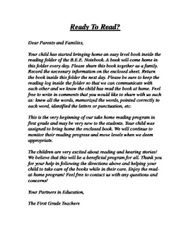Take Home Book Letter to Parents