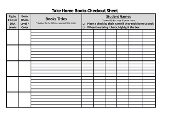 Take Home Book Management Log