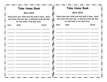Take Home Book Parent Signature Sheet
