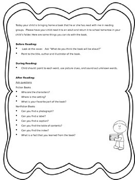 Take-Home Books Letter to Parents