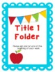Take Home Folder Set with Parent Signature Sheet