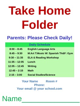 Take Home Folder Template