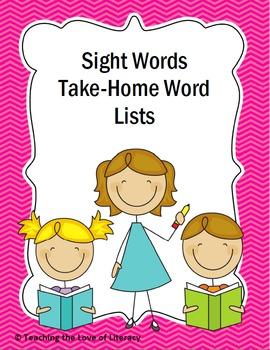 Take Home Sight Word List