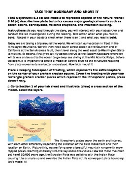 """Plate Tectonics Lab & Reading """"Take That Boundary And Shove It"""""""