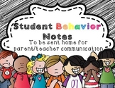 Take home Behavior Notes