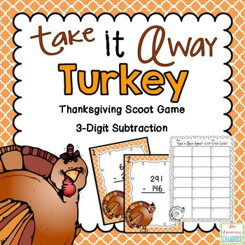 Thanksgiving Math Scoot Game: 3-Digit Subtraction with and