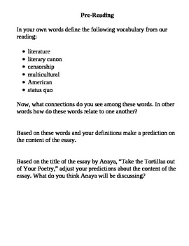 """Anaya's """"Take the Tortillas out of your Poetry"""" - Prereadi"""