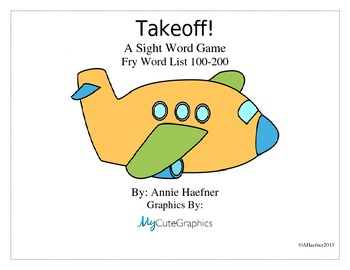 Takeoff! A Sight Word Game: Fry List 100-200