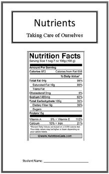 Taking Care of Ourselves: Nutrients (Week 2) Common Core W
