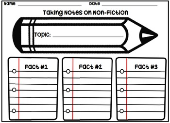 Taking Non-Fiction Notes Organizer