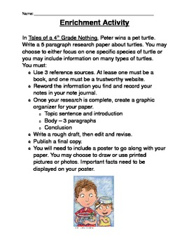 Tales of a 4th Grade Nothing Enrichment Activity