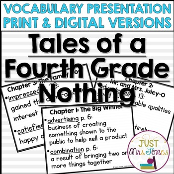 Tales of a Fourth Grade Nothing Vocabulary Presentation