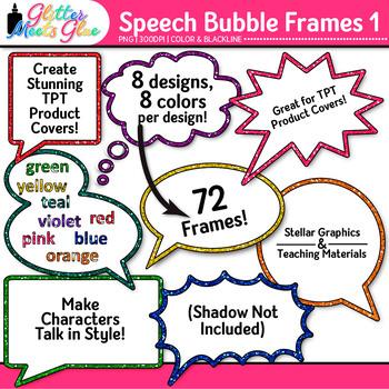 Speech Bubble Frame Clip Art {Rainbow Chalkboard Labels fo
