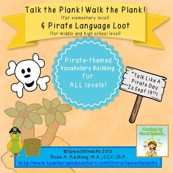 """Talk Like a Pirate"" Language Games-- {for elementary, mid"
