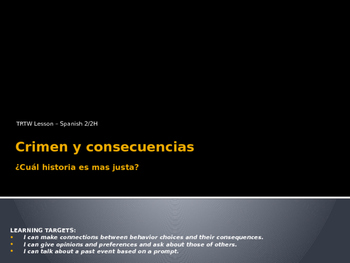 Talk Read Talk Write Lesson - Crimen y consecuencias POWERPOINT