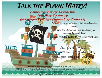 Talk The Plank Matey- BUNDLE - Common Core & Sight Words