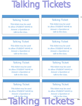 Talking Tickets - PBIS Impulse Control ADHD Anger Mgt. Edi