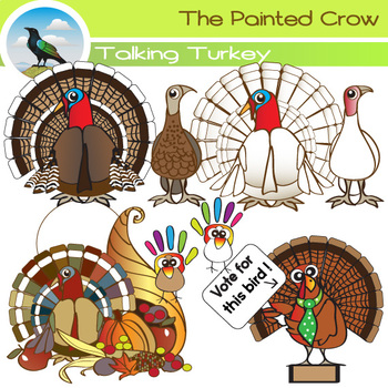 Turkey Clipart - 16 Piece Thanksgiving Day Set - Color and